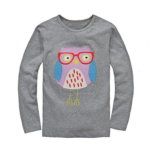 Coralup Little Girls Cotton T-Shirt(Owl)T5002(6T,Grey)