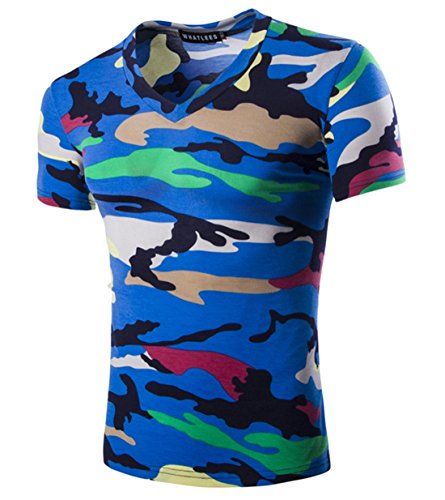 Mada Mens Camouflage T Shirts Short Sleeve V Neck Tee Shirt US Medium Blue Button Down Camouflage Shorts