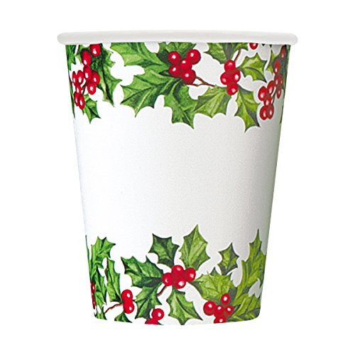 9oz Holly Garland Holiday Paper Cups, 8ct - 1