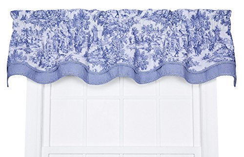 Victoria Park Toile Bradford Valence Window Curtain, Blue (Toile Kitchen Curtains compare prices)