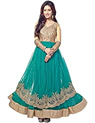 Ethnic Basket Green Semi Stitched Net Anarkali Salwar Suit