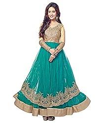 Ethnic Basket Green Semi Stitched Net Anarkali Salwar Suit