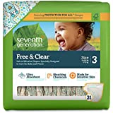 Seventh Generation Free & Clear Unbleached Diapers - Size 3 - 31 ct