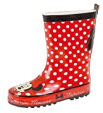 Girls Red Spotty Minnie Mouse Disney Wellies Wellington Boots Size 10 10.5 11 12 13 1 2 2.5