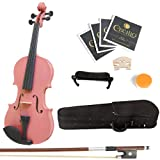 Mendini 1/2 MV-Pink Solid Wood Violin with Hard Case, Shoulder Rest, Bow, Rosin and Extra Strings