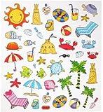 42 tlg. Set Sticker / Aufkleber - Urlaub Sommer Strand Meer Badeurlaub Wasser Beach Krebs Fische
