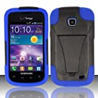 3-in-1 Bundle For Samsung Illusion/Galaxy Proclaim-VGUARD Dual- Layer Hard/Gel Hybrid Kickstand Armor Case (Black/Blue)+ICE-CLEAR Screen Protector Shield(Ultra Clear)+Touch Screen Stylus