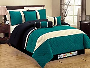 11 Pc Quilted Geometric Medallion Pleated Striped Comforter Curtain Set Queen Teal