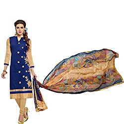ethnic bazaar blue chanderi cotton partywear salwar suit dress material(715_blue)