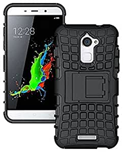 ESI Defender Series Tough Rugged Armor Case Hybrid Dual-Layer with built in Kickstand Case Cover for Coolpad Note 3 Lite 5 Inch - Rugged Black