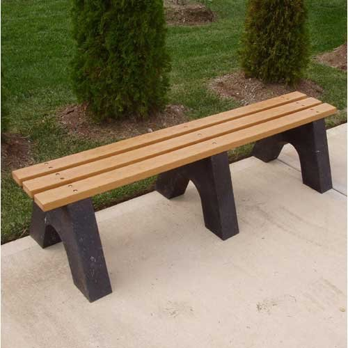 Jayhawk Plastics Recycled Plastic Commercial Backless Park Bench Color - Cedar