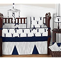 Navy and gray crib bedding