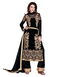 Lookslady Embroidered Black Pure Georgette Thread Work Semi Stitched Salwar Suit