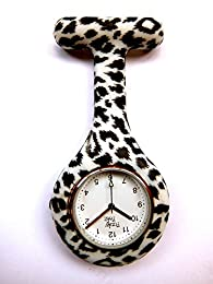Black/White Leopard Print Silicone Fob Watch