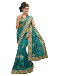 Surat Tex Light Blue Bhagalpuri Silk Party Wear Heavy Embroidery Sarees With Unstitched Blouse