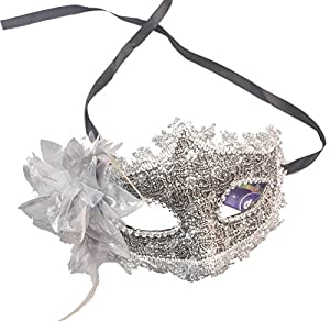 Lace Venetian Masquerade Halloween Costume Mask with Rhinestone Liles