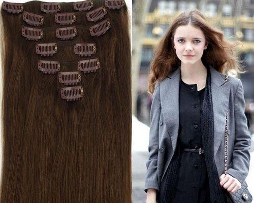 Clip-In-Extensions für komplette Haarverlängerung - hochwertiges Remy-Echthaar - 70g - 38 cm -7tlg- Nr. 4 Dunkelbraun
