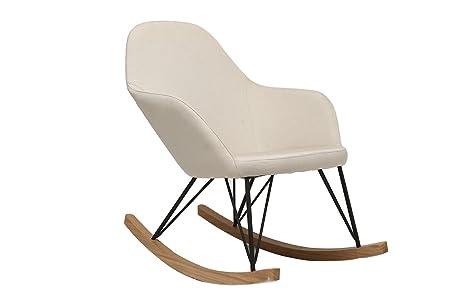 Miliboo - Fauteuil relax - Rocking chair tissu naturel pieds métal et frêne JHENE