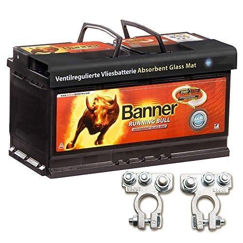 Banner-Campingartikel-Vliesbatterie-AGM-Running-Bull-92AH-12V-Batterie-inkl-Polklemmen-Auto-Boot-Wohnmobil