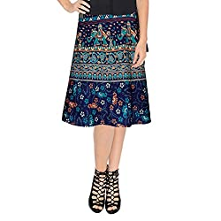 Ethnic Style Cotton Wrap Around Block Print Knee Length Skirt