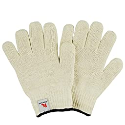 Ironland Oven Gloves Hot Surface Handler, Oven Mitts, BBQ Gloves For Cooking, Grilling, Baking, Heat Resistant To 350F, White, 2-Pack (1 Pair)