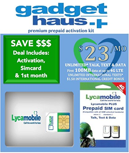 Lycamobile Preloaded Triple Cut 3 in 1 Sim Card includes FREE $23