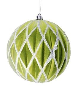 "Kiwi Green Glittered Lattice Shatterproof Christmas Ball Ornament 6"" (150mm)"