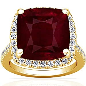 18K Yellow Gold Cushion Cut Ruby Fana Designer Ring