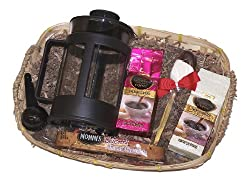 Coffee Lovers Godiva Coffee French Press Holiday Gourmet Gift Basket