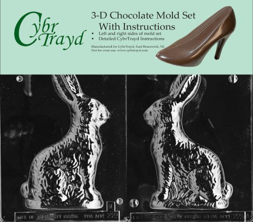 Cybrtrayd E223AB 8-Inch Sitting Bunny Chocolate Candy Mold Bundle with 2 Molds and Exclusive Cybrtrayd Copyrighted 3D Chocolate Molding Instructions