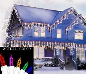 set of 150 twinkling multi color icicle christmas lights. Black Bedroom Furniture Sets. Home Design Ideas