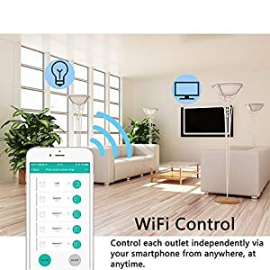 Smart Power Strip, Wifi Surge Protector, Voice Control with Alexa & Google Home, 4 AC Outlets 4 USB Port with 6-Foot Cord, App Control Appliances, Individual Control, Timing Schedule, No Hub (Color: White)