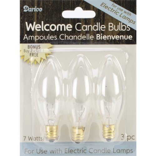 Darice Candle Lamp Collection Welcome Candle Bulbs, 3-Pack