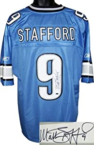 Matthew Stafford Autographed Hand Signed Detroit Lions Blue Reebok EQT Jersey-... by Hall of Fame Memorabilia