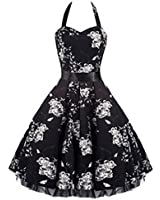 Pretty Kitty Fashion Black White Floral Evening Party Prom Dress