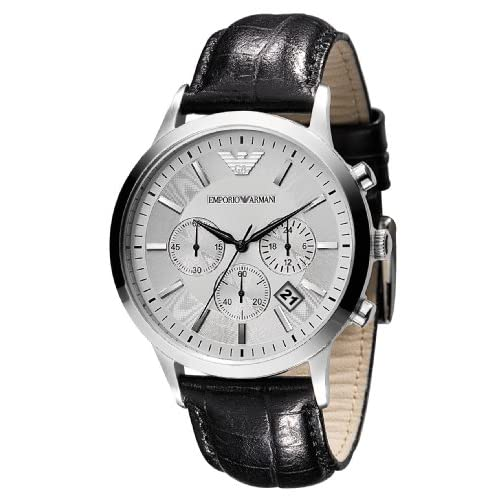 Emporio Armani Gents Round Case Silver Dial Chronograph Black Leather Strap Watch