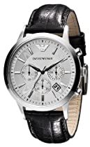 Emporio Armani Gents Stainless Steel Chronograph Watch with Leather Strap