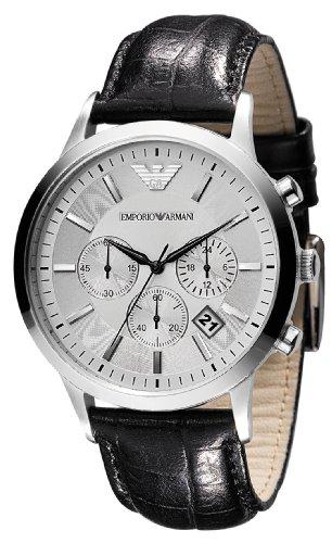 Emporio Armani - Orologio da polso, cronografo al quarzo, pelle