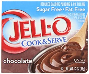 Jell-O Cook & Serve Pudding & Pie Filling, Sugar-Free, Fat Free, Chocolate, 1.3-Ounce Boxes (Pack of 24)