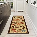 Ottomanson Sara's Kitchen Paisley Design Mat Runner Rug with Non-Skid (Non-Slip) Rubber Backing