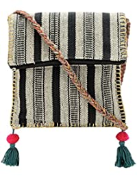 The House Of Tara Boho Chick Crossbody Bag In Handloom Fabric HTCB 043