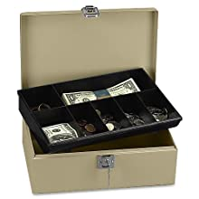 PM Company SecurIT Lock N Latch Cash Box with Removable Seven Compartment Tray, 11 x 7.75 x 4 Inches, Pebble Beige, 1/Carton (04963)
