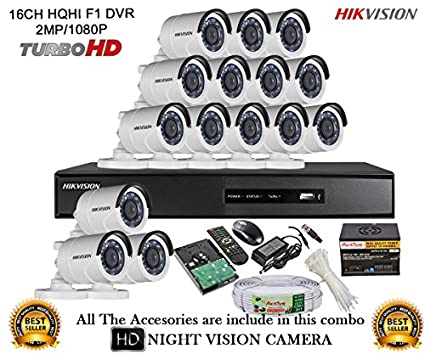 Hikvision-DS-7216HQHI-E2-16CH-Dvr,-15(DS-2CE16DOT-IR)-Bullet-Cameras-(With-Mouse,-Remote,-2TB-HDD,Cable-,-Bnc&Dc-Connectors,Power-Supply)
