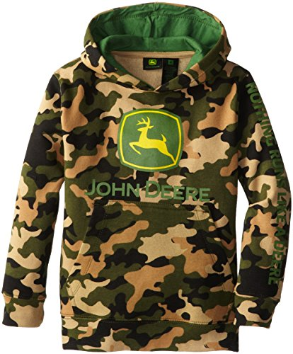John Deere Little Boys' Large Trademark Pullover Fleece Hoodie, Camouflage, 6 front-1036597