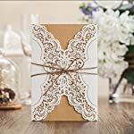 Wishmade 50x Rustic Laser Cut Lace Sleeve Wedding Invitations Cards Kits for Engagement Bridal Shower Baby Shower Birthday Graduation Cardstock with Hollow Favors Rustic Envelope(Set of 50pcs)