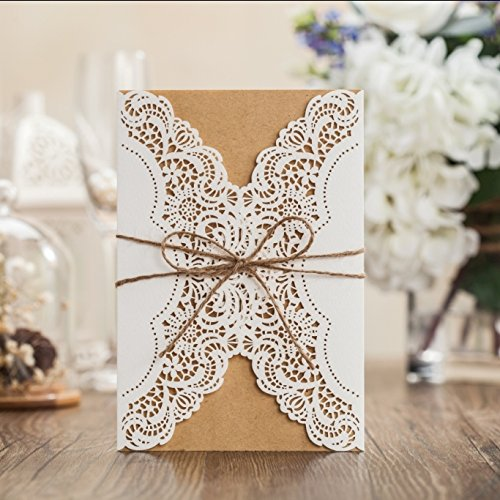 Wishmade 50x Rustic Laser Cut Lace Sleeve Wedding Invitations Cards Kits for Engagement Bridal Shower Baby Shower Birthday Graduation Cardstock with Hollow Favors Rustic Envelope(Set of 50pcs) 0