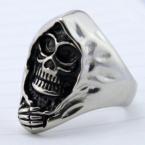 Men's Grim Reaper Skull Biker Stainless Steel Ring (12)