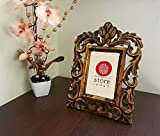Store Indya Hand Carved Mango Wood Single Photo Picture Frame Decorative Holder Display Stand Gold Distressed Finish Home Storage Living Room Decor Album Accessory Gift for Him Her