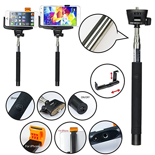 Apexel Extendable Self Portrait Handheld Stick Monopod with Mount Holder and Bluetooth Remote Wireless Shutter for Smartphones - Black