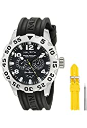 Nautica Men's NAI14503G BFD 100 Box Set Analog Display Analog Quartz Black Watch